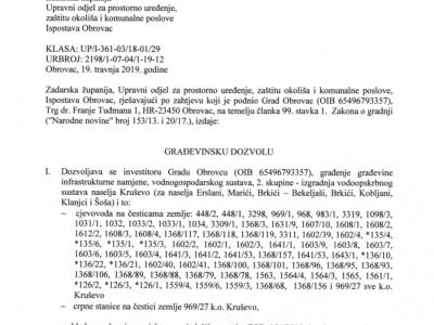 Izrada glavnog projekta za izgradnju vodovoda Kruševo - Kobljani